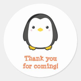 Adesivo Redondo Pinguim de Kawaii
