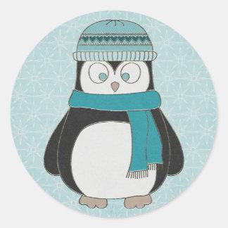 Adesivo Redondo Pinguim do divertimento do inverno