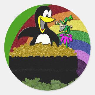 Adesivo Redondo Pinguim, Leprechaun, ouro e arco-íris