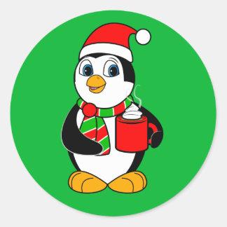 Adesivo Redondo Pinguim na festa natalícia do cacau do bebendo do