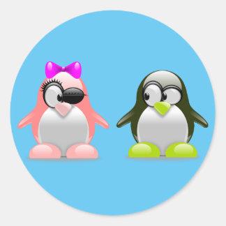 Adesivo Redondo Pinguins bonitos do casal
