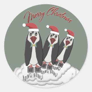 Adesivo Redondo Pinguins de salto de Pogo do Natal de Jiminy