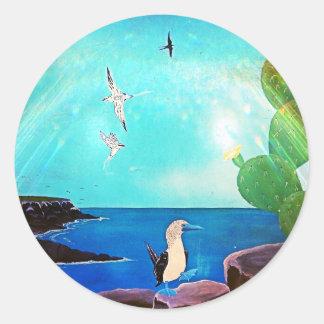 Adesivo Redondo Pintura azul dos pássaros de vôo do oceano