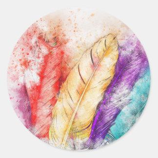 Adesivo Redondo Pintura colorida da pena quatro como projetado