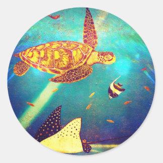 Adesivo Redondo Pintura colorida da tartaruga de mar do oceano