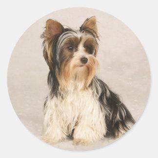 Adesivo Redondo Pintura da senhorita Mia Foto de Yorkie do retrato