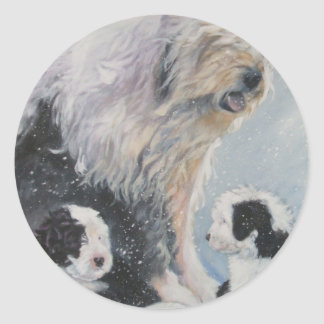 Adesivo Redondo Pintura inglesa velha do SheepDog do inverno