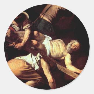 """Adesivo Redondo Pintura original """"La crocifissione di s Pietro """""""