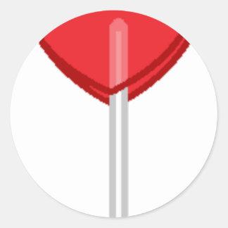 Adesivo Redondo pirulito vermelho do coração