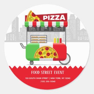 Adesivo Redondo Pizza da rua da comida