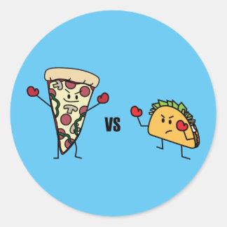 Adesivo Redondo Pizza de Pepperoni CONTRA o Taco: Mexicano contra