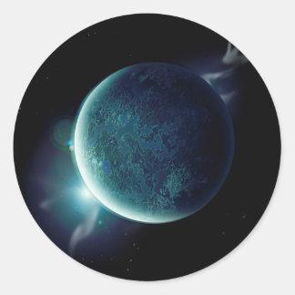 Adesivo Redondo planeta verde no universo com aura e estrelas