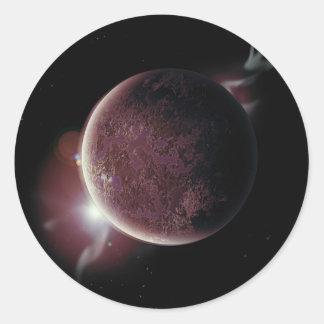 Adesivo Redondo planeta vermelho no universo com aura e estrelas