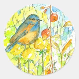 Adesivo Redondo Plantas do outono do Bluebird