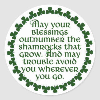 Adesivo Redondo Podem suas bênçãos ultrapassar os trevos, irlandês