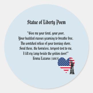 Adesivo Redondo Poema da estátua da liberdade