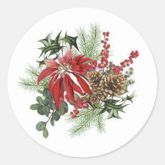 Adesivo Redondo poinsétia moderna do feriado do vintage floral