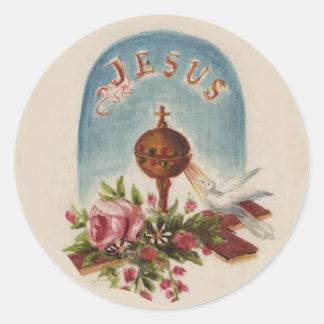 Adesivo Redondo Pomba transversal Jesus dos rosas do cálice