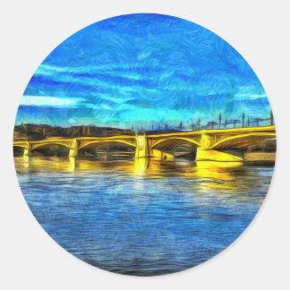 Adesivo Redondo Ponte Budapest Van Gogh de Margaret