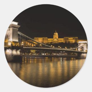 Adesivo Redondo Ponte Chain e castelo de Budapest