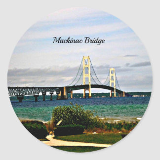 Adesivo Redondo Ponte de Mackinac, ilha de Mackinac