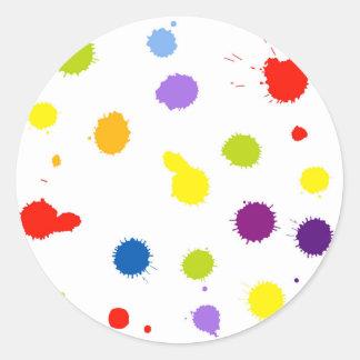 Adesivo Redondo ponto da silhueta do arco-íris com gotas, borrões,