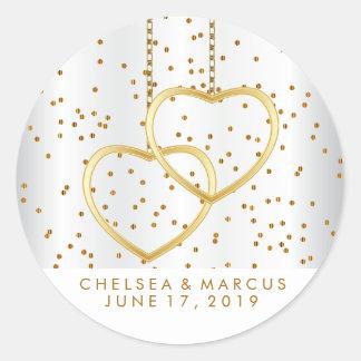 Adesivo Redondo Pontos do ouro dos confetes e corações do ouro