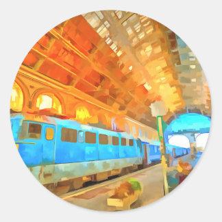 Adesivo Redondo Pop art da estação de comboio