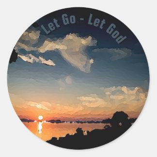 Adesivo Redondo por do sol 12-Step sobre o lago Balaton -