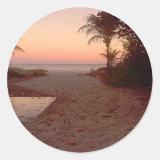 Adesivo Redondo Por do sol na praia