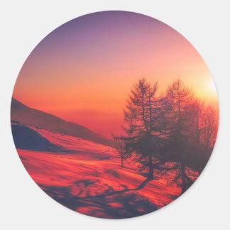 Adesivo Redondo Por do sol nevado da noite