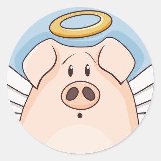 Adesivo Redondo Porco bonito do anjo dos desenhos animados