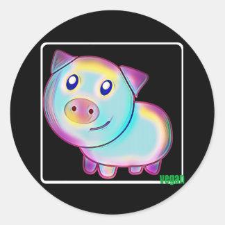 Adesivo Redondo Porco colorido Vegan