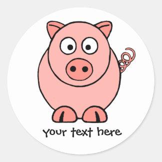 Adesivo Redondo Porco cor-de-rosa