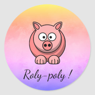 Adesivo Redondo porco Roly-poli Pigling Piggywiggy do rosa Pastel