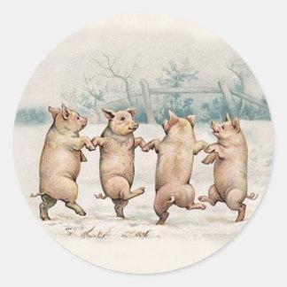 Adesivo Redondo Porcos bonitos engraçados da dança - animais