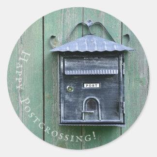 Adesivo Redondo Postcrossing feliz! Caixa postal