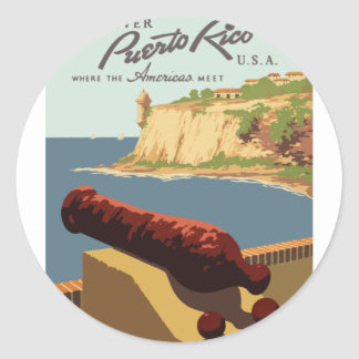 Adesivo Redondo Poster Puerto Rico das viagens vintage