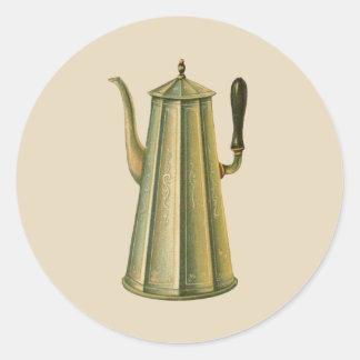Adesivo Redondo Pote do café do fogão do vintage