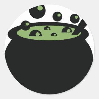 Adesivo Redondo Pote preto e verde do cozinhar