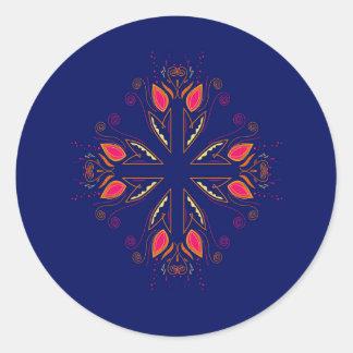 Adesivo Redondo POVOS do azul dos elementos do design