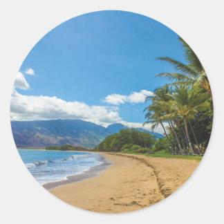 Adesivo Redondo Praia em Havaí