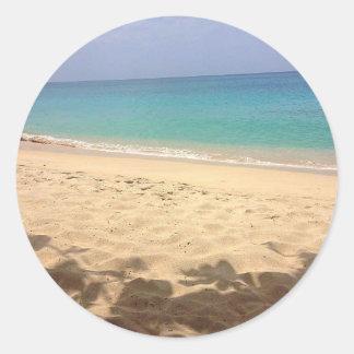 Adesivo Redondo Praia grande de Anse da etiqueta, Grenada W.I