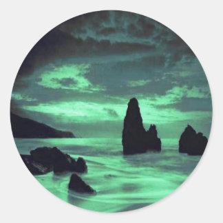 Adesivo Redondo Praia, rochas