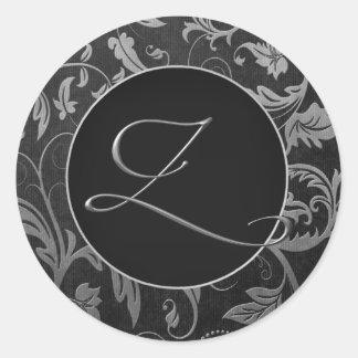 Adesivo Redondo Prata do monograma Z e selo preto do casamento