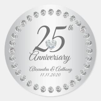 Adesivo Redondo Prata dos diamantes do aniversário de casamento do