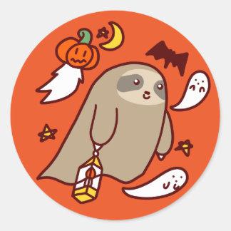 Adesivo Redondo Preguiça do fantasma do Dia das Bruxas