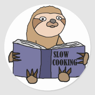 Adesivo Redondo Preguiça engraçada que lê o livro lento do