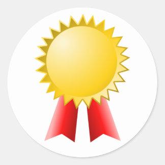 Adesivo Redondo prêmio vermelho vazio da estrela da fita e do ouro