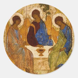Adesivo Redondo Presente católico bizantino de Rublev do ícone da